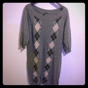 Benetton argyle sweater dress gray brown large